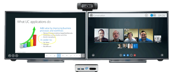 Vytru Lync Room Video System with dual screen setup